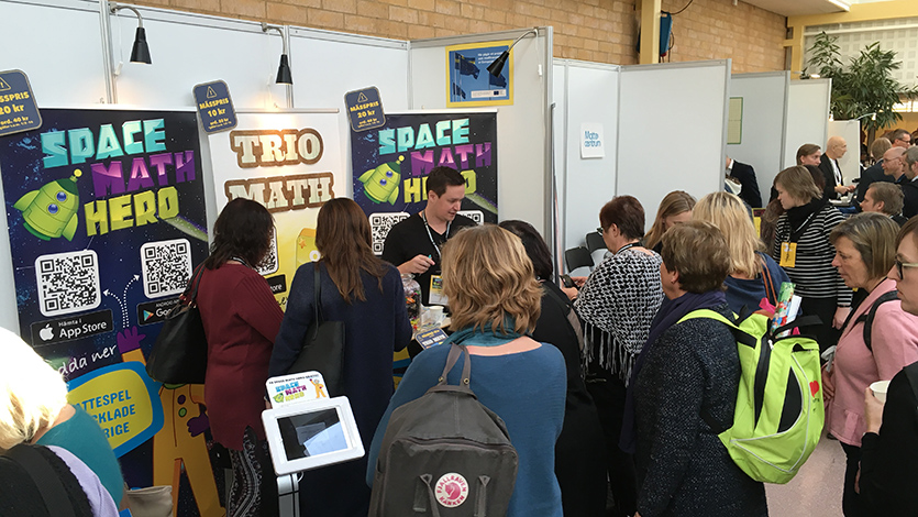 Showing our Math Game - Space Math Hero at Matematikbiennalen 2016